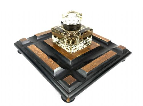 Antique Wooden Desk Stand With Smoked Cut Glass Inkwell / Large / Victorian